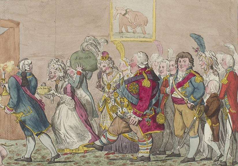 The Wedding Night, Caricature by Isaac Cruikshank